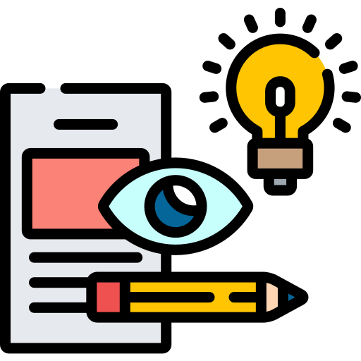 Page, eye, lightbulb, pencil icon