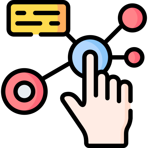 Finger touching producing interactivity icon